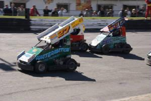 StoxKarts 2010 in car video...12 Carl Heighes, 27 Chris Butcher, 546 Mark Banham (photo courtesy CJS race photos)